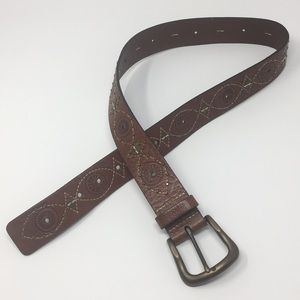 FOSSIL Brown Leather Belt Gold Studs M